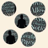 Bedruckte Korkuntersetzer 'Yoga Words'   Geist und Geschenk runde Form