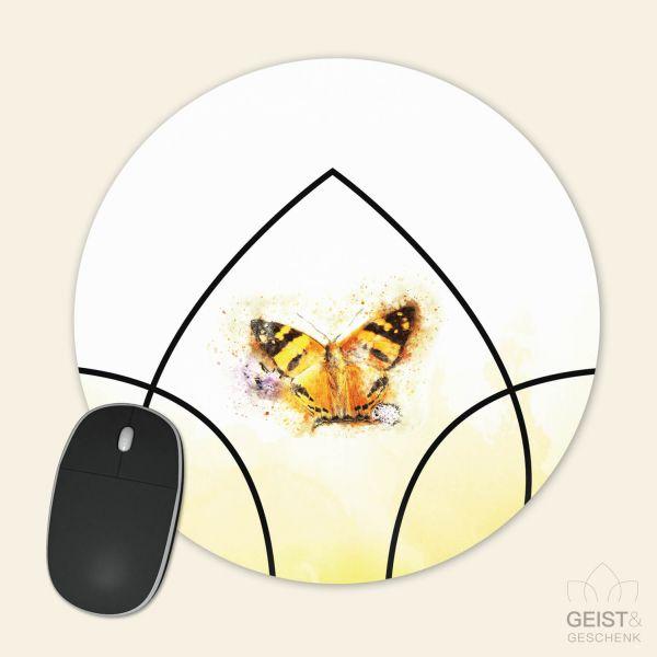 Bedrucktes Mousepad Aquarell Butterfly Schmetterling Geist und Geschenk runde Form