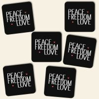 Untersetzer Set 'Peace, Freedom & Love'