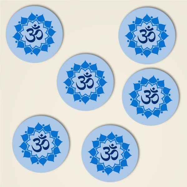 Untersetzer om Mandala dreiblatt kork bedruckt design