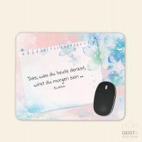 Bedrucktes Mousepad Buddha Zitat Gedanken Aquarell Geist und Geschenk eckige Form