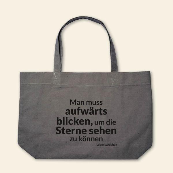 Canvas Stofftasche 'Man muss aufwärts blicken' Grau, Schwarz