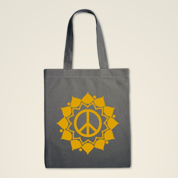 Stofftasche grau 'Peace Mandala'