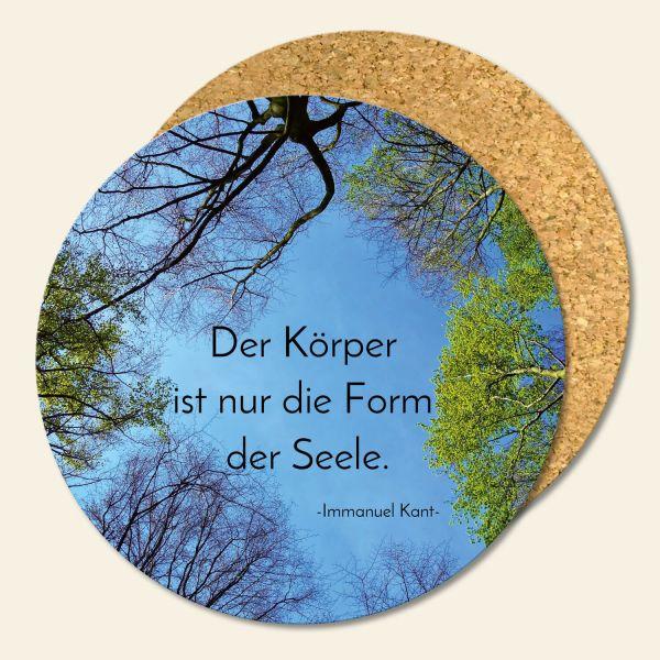 Bedruckte Korkuntersetzer Zitat Immanuel Kant Geist und Geschenk runde Form