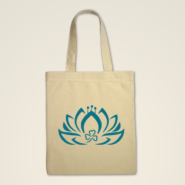Stofftasche-stoffbeutel klassisch Natur Lotus grün