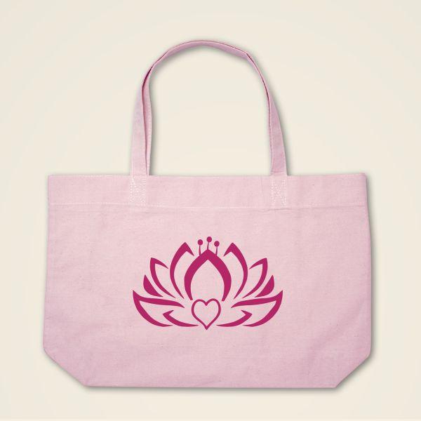 Herzlotus Stofftasche Stoffbeutel bedruckt rosa magenta