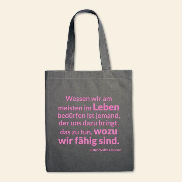 Canvas Stofftasche 'Wessen wir am meisten im Leben bedürfen' Gau,  Rosa