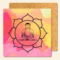 Bedruckte Korkuntersetzer Buddha Aquarell  Geist und Geschenk eckige Form