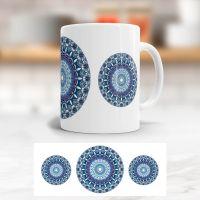 Bedruckte Tasse Mandala Blue klassische Form Geist und Geschenk