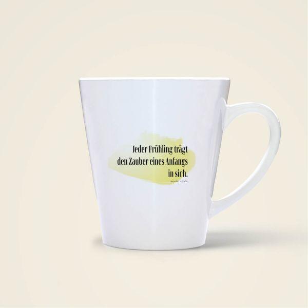Tasse bedruckt mit Spruch Zitat Frühling gelb Rückseite