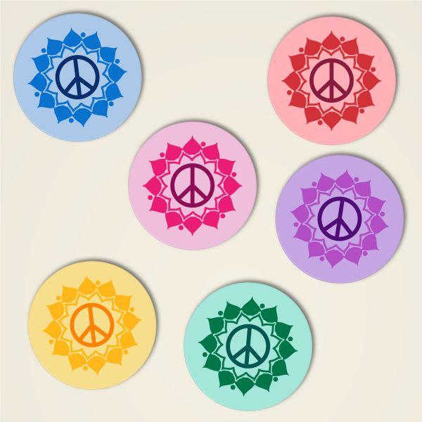 Untersetzer Kork Peace Mandala Komplett