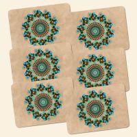 Bedrucktes 6-teiliges Tischset Mandala Retro  Geist und Geschenk