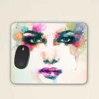 Mousepad 'Wasserfarben-Gesicht'