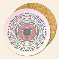 Bedruckte Korkuntersetzer 'Mandala Candy'   Geist und Geschenk runde Form