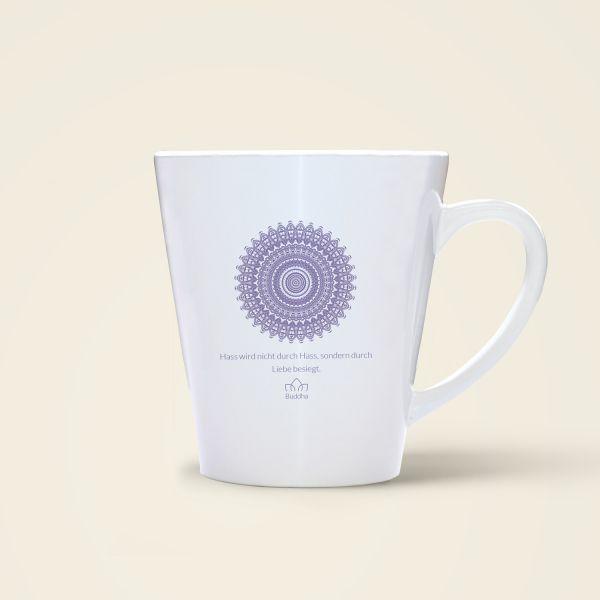 Bedruckte Tasse mit Mandala Motiv und Spruch Buddha violett