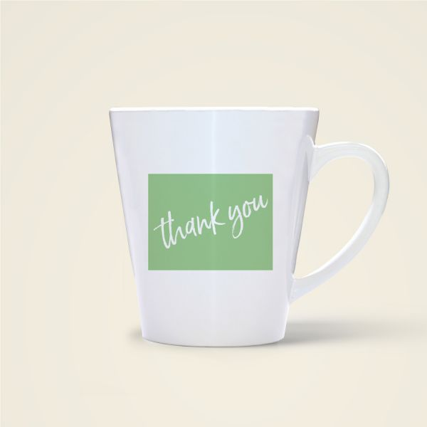 Tasse bedruckt Danke Thank you grün
