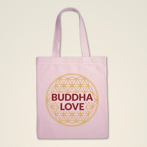 Rosa Stofftasche bedruckt mit Buddha Love und der Blume des Lebens