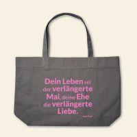 Canvas Stofftasche 'Dein Leben sei der verlängerte Mai' Grau, Rosa