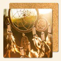 Bedruckte Korkuntersetzer Bedruckte Korkuntersetzer Traumfänger Sunset  Geist und Geschenk eckige Form  Geist und Geschenk eckige Form