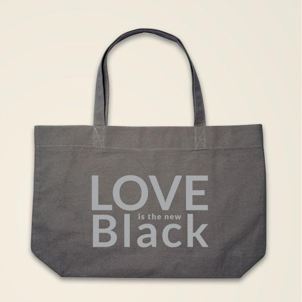 Boatshape Love is the new Black stofftasche spruch bedruckt grau variante