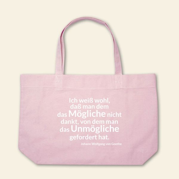 Boatshape Stofftasche bedruckt Spruch Zitat Goethe rosa  1
