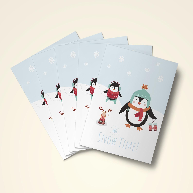 weihnachtskarten im 6er set 39 snow time 39 stilvolle klappkarten. Black Bedroom Furniture Sets. Home Design Ideas