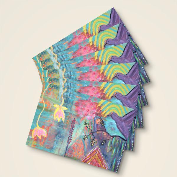 Grusskarten Set 'Kolibri und Lotus'