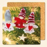 Bedruckte Korkuntersetzer 'Puppen Weihnachtsbaum'   Geist und Geschenk eckige Form