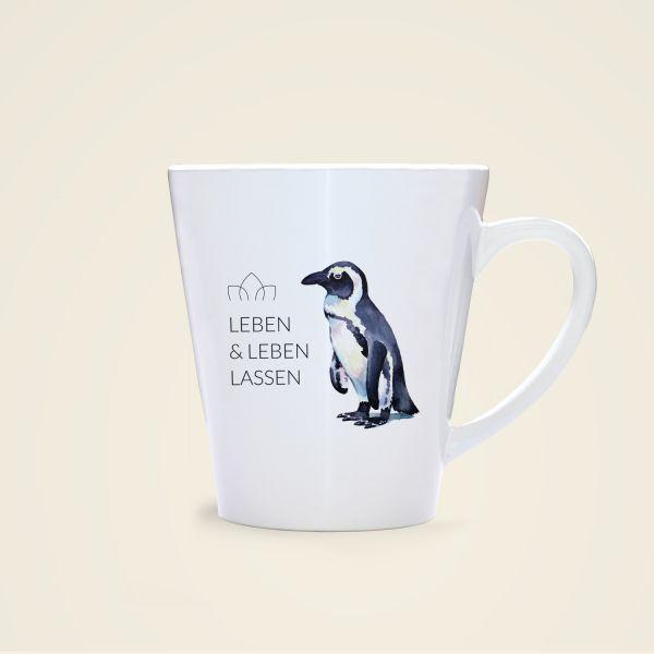 Tasse leben und leben lassen bedruckt pinguin Rückseite