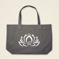 Geist und Geschenk Dreiblatt Lotus Stofftasche Grau weiss