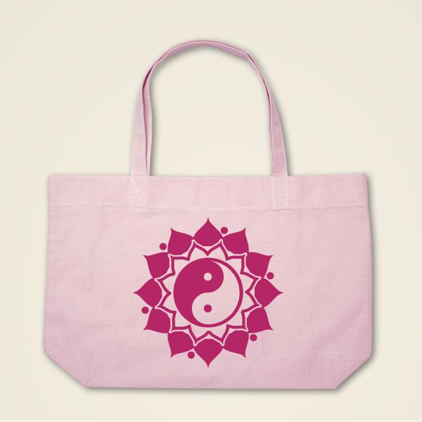 Boatshape Stofftasche rosa 'Ying & Yang' Mandala