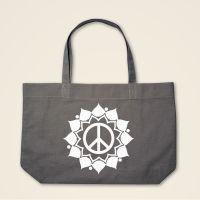 Boatshape Stofftasche grau 'Peace Mandala'