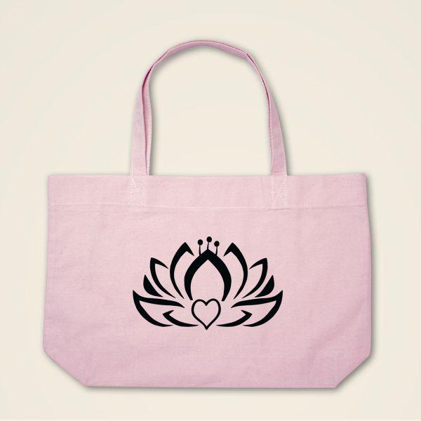 Herzlotus Stofftasche Stoffbeutel bedruckt rosa schwarz