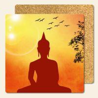 Bedruckte Korkuntersetzer Buddha Sunset  Geist und Geschenk eckige Form