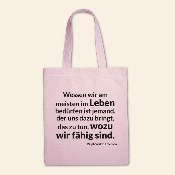 Canvas Stofftasche 'Wessen wir am meisten im Leben bedürfen' Rosa, Schwarz