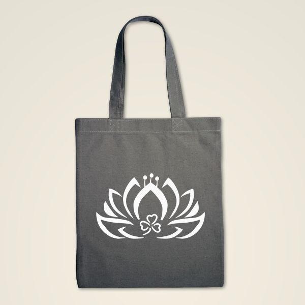 Stofftasche klassisch Grau Lotus weiß
