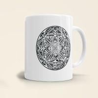 Mandala Shamanic Motiv bedruckte Tasse klassisch schwarz