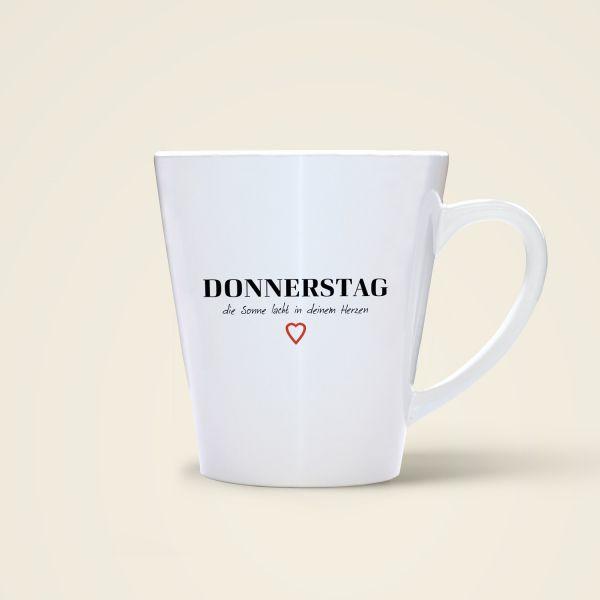 Donnerstag Tasse bedruckt Spruch Monika Minder