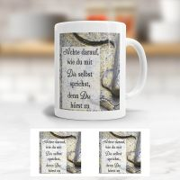 Tasse bedruckt Zitat  'Achte darauf, wie du mit dir selbst sprichst, denn du hörst zu', Geist und Geschenk, konische Form
