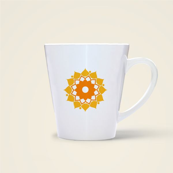 Tasse Becher bedruckt Motiv Mandalablume konisch gelb