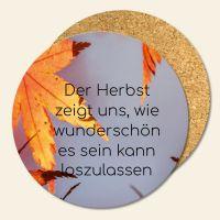 Untersetzer 6´er Set Kork Herbst Blätter Geist und Geschenk runde Form