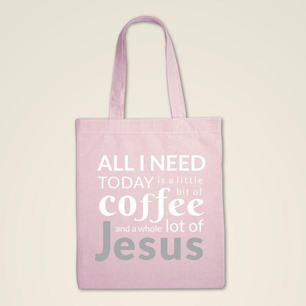 Stofftasche Stoffbeutel bedruckt Jesus Coffee rosa
