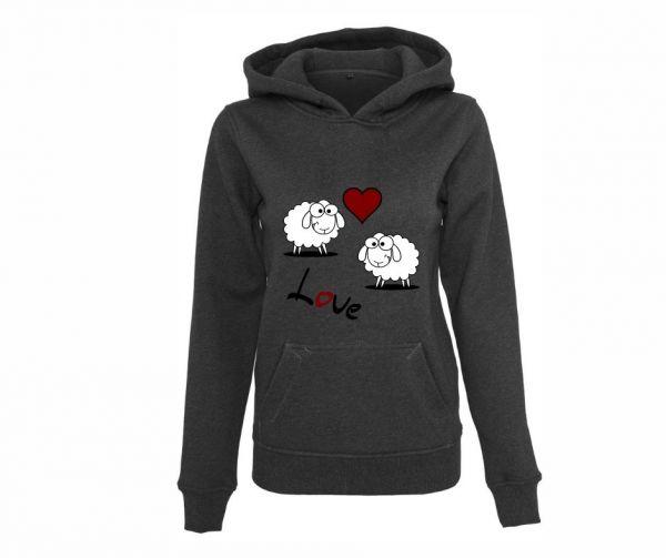 Hoodie Damen bedruckt Schafe LOVE Geist und Geschenk