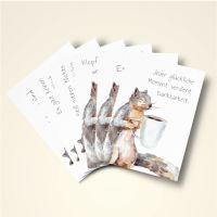 Grusskarten  Set Sprüchesammlung mit Eichhörnchenmotiven'
