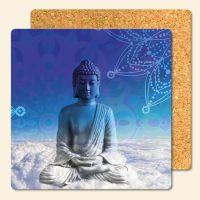Bedruckte Korkuntersetzer Buddha Heaven  Geist und Geschenk eckige Form