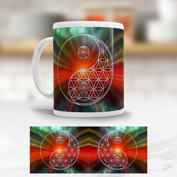 Tasse Blume des Lebens 'Universum Yin Yang'