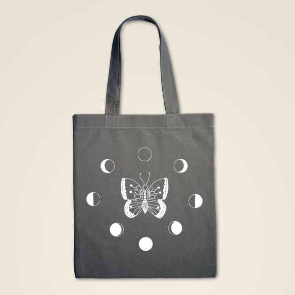 Stofftasche bedruckt bestellen grau natur baumwolle transformation geist und geschenk weiss