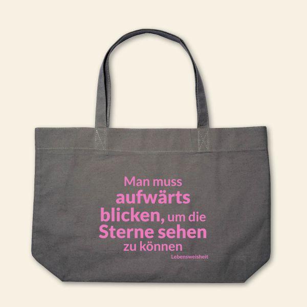 Canvas Stofftasche 'Man muss aufwärts blicken' Grau, Rosa
