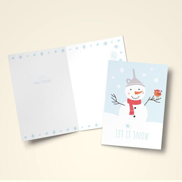 Wann Weihnachtskarten Versenden.Klappkarten Set Weihnachten Let It Snow
