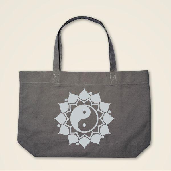 Boatshape Stofftasche grau 'Ying & Yang' Mandala